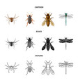 insect and fly icon set of vector image vector image