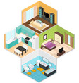 Interior Rooms of The House Isometric View vector image vector image