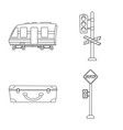 isolated object of train and station sign set of vector image vector image