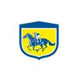 Jockey Horse Racing Side View Shield Retro vector image vector image