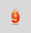 number nine with red flames and sparks vector image vector image