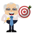 old man holding target on white background vector image