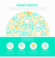 organic products concept in half circle vector image vector image
