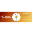 pina colada cocktail ingredients flat stile vector image vector image