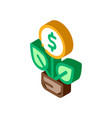 plant grow coin isometric icon vector image vector image