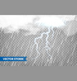 realistic rain with clouds and lightning vector image