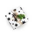realistic xmas gift box top view black and white vector image vector image