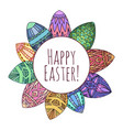 round frame with easter eggs with zentangle vector image vector image