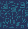 seamless pattern medical icons clinic vector image