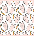 seamless pattern with cute pink rabbit or bunny vector image vector image