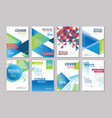 set blue cover brochure flyer annual report vector image vector image