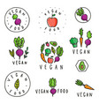 set vegan food badges vector image vector image