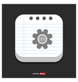 setting icon gray icon on notepad style template vector image