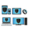 smart device and computer with protection shield vector image vector image