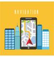 smartphone arrow navigation city urban building vector image