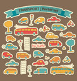 transportation doodle icon set vector image vector image