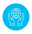Two hands holding globe line icon vector image vector image