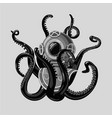 vintage diving suit with octopus retro scuba vector image vector image