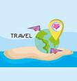world beach planes around location love tourist vector image