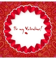 Red circle Valentines day greeting card template vector image