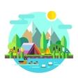 Summer landscape tent mountains lake Hiking vector image
