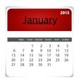 2013 calendar January vector image