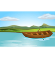A river and a boat vector image vector image