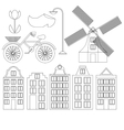 Amsterdam city flat line art Travel landmark