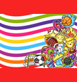 background with kawaii sport items vector image vector image