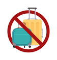 ban on luggage flat suitcases in vector image