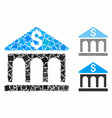 bank building mosaic icon uneven items vector image vector image