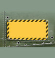 blank yellow warning metal plate steel background vector image vector image