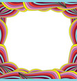 bright multicolored frame with rainbow wavy lines vector image