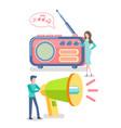 broadcasting on radio megaphone and people set vector image