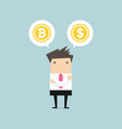 businessman with bitcoin or dollar choice vector image vector image
