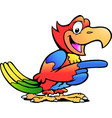 cartoon a happy pointing parrot bird vector image vector image