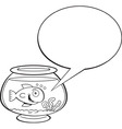 Cartoon fishbowl with a caption balloon vector image vector image