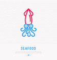 cartoon squid thin line icon vector image