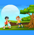 cartoon two boy playing near the cliff vector image vector image