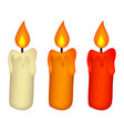 christmas candle set burning wax candle icon vector image