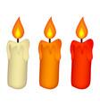 christmas candle set burning wax candle icon vector image