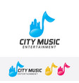 city music logo design vector image vector image
