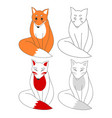 cute red fox and kitsune vector image