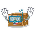 diving crate character cartoon style vector image vector image