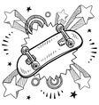 doodle pop skateboard vector image vector image