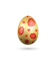 easter egg 3d icon red gold egg isolated white vector image