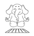 elephant character does yoga cartoon vector image