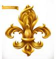 Fleur-de-lis stylized lily gold emblem 3d icon
