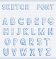 font alphabet letters blue hand drawn sketch on vector image vector image