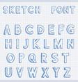font alphabet letters blue hand drawn sketch vector image